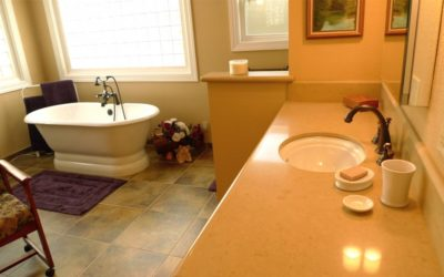 A bathroom matures with its owners
