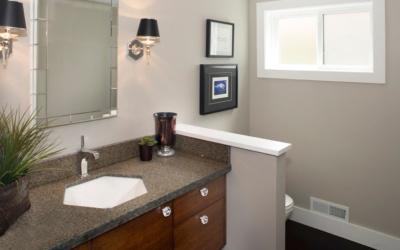 A three-quarter bathroom turns into a powder room